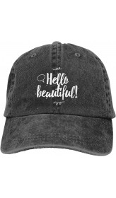 Hello Beautiful Unisex Soft Casquette Cap Fashion Hat Vintage Adjustable Baseball Caps One Size Fashion Can be Washed Black  B08RDYT441