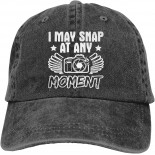 I May Snap at Any Moment Unisex Soft Casquette Cap Fashion Hat Vintage Adjustable Baseball Caps One Size Fashion Can be Washed Black  B08R2KXZ9M