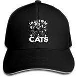 I'm Just Here to Pet All The Cats Baseball Cap Adjustable Snapback Trucker Hat Dad Cap for Women Men Black  B08RDKRPLW