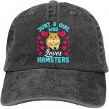 Just a Girl Who Loves Hamsters Unisex Soft Casquette Cap Fashion Hat Vintage Adjustable Baseball Caps Fashion Black  B08YZ621S6