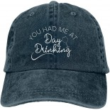 Derzers You Had Me at Day Drinking Hat Funny Alcohol Baseball Cap Adjustable Baseball Cap Unisex Washable Cotton Trucker Cap One Size B093FQH4M4