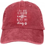 I Just Want to Drink Coffee and Pet My Dog Baseball Cap Coffe and Dog Sun Protection Trucker Dad Hat 7-7 3 8 B0937BCJX4