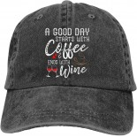 A Good Day Starts with Coffee & Ends with Wine Baseball Caps Adult Adjustable Denim Cap  B097MD5R35