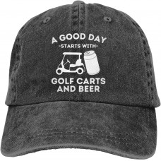 A Good Day Starts with Golf Carts and Beer Baseball Caps Adult Adjustable Denim Cap  B097MDN2JJ